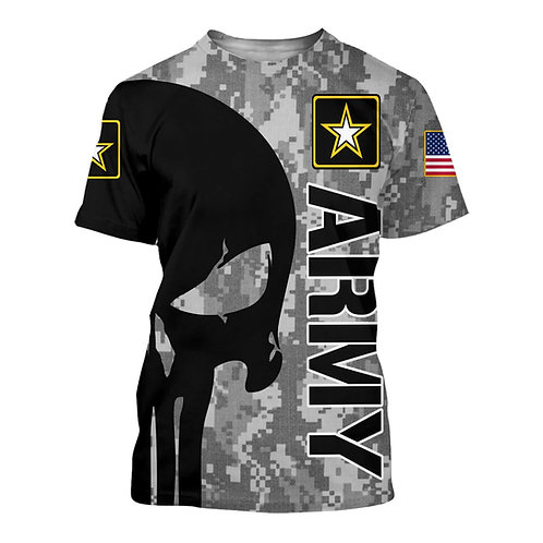 OFFICIAL-U.S.ARMY-SHORT-SLEEVE-TEES/NEW-CUSTOM-3D-GRAPHIC-PRINTED-PUNISHER-SKULL
