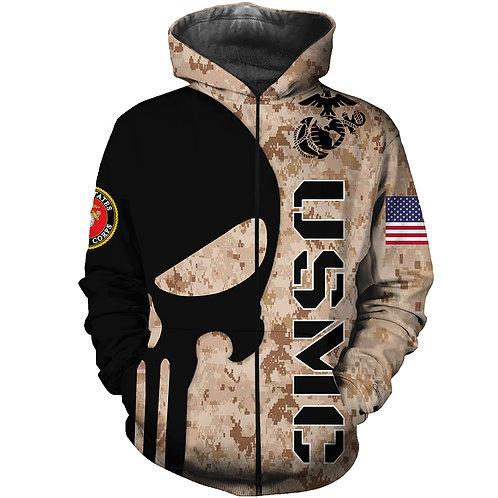 OFFICIAL-U.S.MARINES-ZIPPERED-HOODIES/CUSTOM-3D-GRAPHIC-PRINTED-PUNISHER-SKULL!!