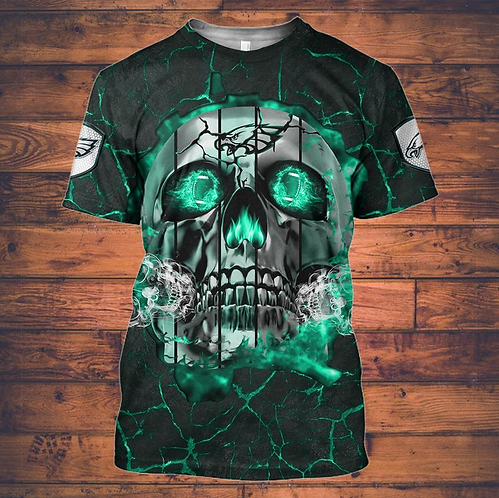 OFFICIAL-N.F.L.PHILADELPHIA-EAGLES-TEAM-NEON-GREEN-SKULL-TEES/CUSTOM-3D-PRINTED!
