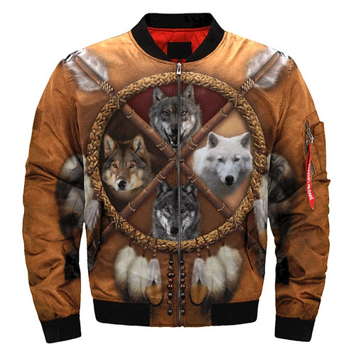 **(WILD-WOLVES-FAMILY & INDIAN-DREAM-CATCHER/3D-CUSTOM-PRINTED-BOMBER-JACKETS)**