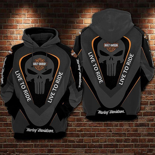 OFFICIAL-HARLEY-DAVIDSON-MOTORCYCLE-PULLOVER-HOODIE/NEW-CUSTOM-3D-PUNISHER-SKULL