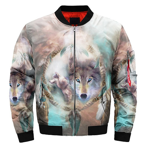**(NEW-WOLF-PORTRIAT & INDIAN-DREAM-CATCHER/3D-CUSTOM-PRINTED-BOMBER-JACKETS)**