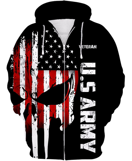 OFFICIAL-U.S.ARMY-ZIPPERED-HOODIE/CUSTOMIZE-3D-PRINTED-PATROITIC-PUNISHER-SKULL!
