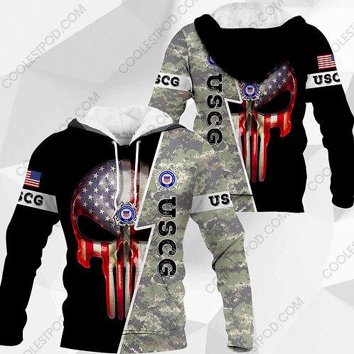 OFFICIAL-U.S.COAST-GUARD-CAMO.PULLOVER-HOODIES/CUSTOM-3D-PRINTED-PUNISHER-SKULL!