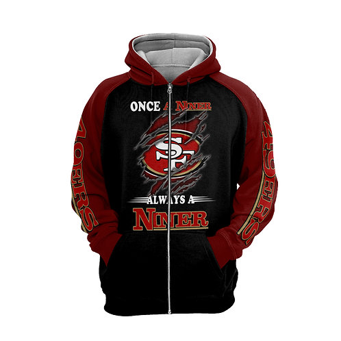 OFFICIAL-N.F.L.SAN-FRANCISCO-49ERS-ZIPPERED-HOODIE/NICE-CUSTOM-3D-GRAPHIC-DESIGN