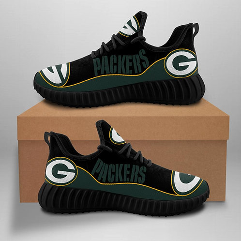 OFFICIAL-GREEN-BAY-PACKERS-TEAM-BLACK-SPORT-SHOES/CUSTOM-3D-DESIGN-PACKERS-LOGOS