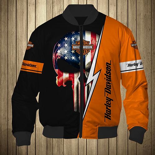OFFICIAL-HARLEY-DAVIDSON-MOTORCYCLE-FLIGHT-JACKET/NEW-CUSTOM-PUNISHER-FLAG-SKULL