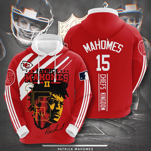 OFFICIAL-N.F.L.KANSAS-CITY-CHIEFS-PULLOVER-TEAM-HOODIE/PATRICK-MAHOMES-NO.15!!