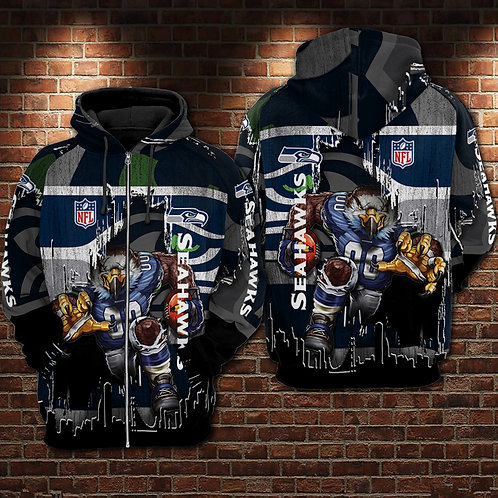 OFFICIAL-N.F.L.SEATTLE-SEAHAWKS-ZIPPERED-HOODIES/NEW-CUSTOM-3D-GRAPHIC-PRINTED!