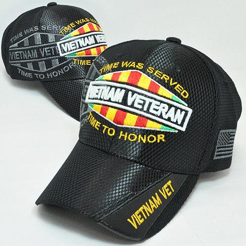 OFFICIAL-VIETNAM-VETERAN & VIETNAM-WAR-COMBAT-RIBBON/NEW-CUSTOM-BLACK-MESH-HATS!