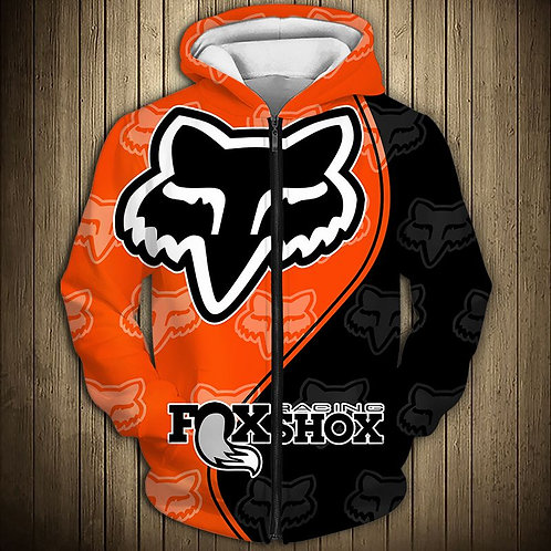 OFFICIAL-FOXSHOX-RACING-ZIPPERED-HOODIES/CUSTOM-3D-GRAPHIC-PRINTED-DOUBLE-SIDED!