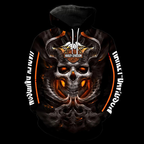 OFFICIAL-HARLEY-DAVIDSON-MOTORCYCLE-PULLOVER-HOODIES/NEW-CUSTOM-3D-GRAPHIC-SKULL