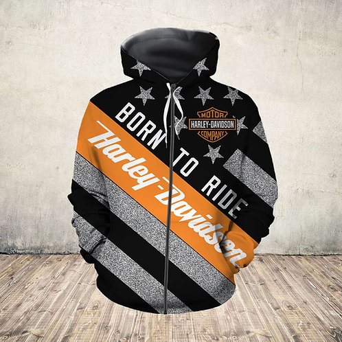 OFFICIAL-HARLEY-DAVIDSON-MOTORCYCLE-ZIPPERED-HOODIE/NEW-CUSTOM-BORN-TO-RIDE-FLAG