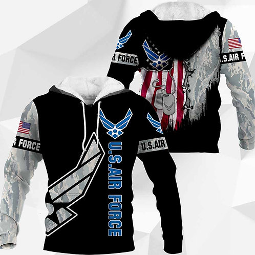 OFFICIAL-U.S.AIR-FORCE-CAMO.PULLOVER-HOODIES/CUSTOM-3D-PRINTED-FLAG & DOG-TAGS!!