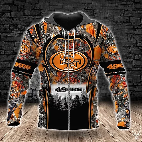 OFFICIAL-N.F.L.SAN-FRANCISCO-49ERS-ZIPPERED-HOODIE/CUSTOM-REALTREE-ORANGE-CAMO.