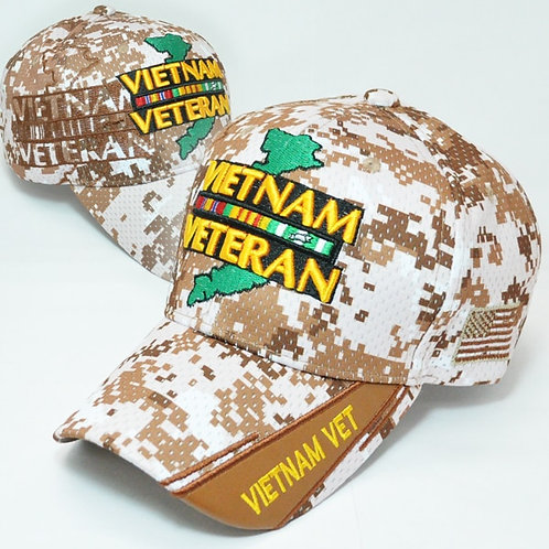 *OFFICIAL-VIETNAM-VETERAN & VIETNAM-WAR-COMBAT-RIBBON/VETERANS-CUSTOM-CAMO.HATS*