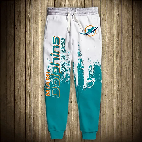 OFFICIAL-N.F.L.MIAMI-DOLPHINS-TEAM-SWEAT-PANTS/CUSTOM-3D-PRINTED-FINS-UP-MIAMI!!