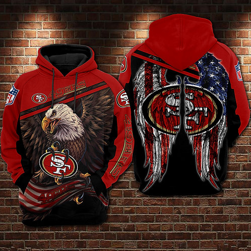 OFFICIAL-N.F.L.SAN-FRANCISCO-49ERS-TEAM-PULLOVER-HOODIES/PATRIOTIC-FLAGGED-EAGLE