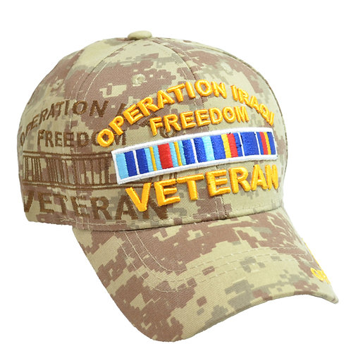 OFFICIAL-OPERATION-IRAQI-FREEDOM-VETERAN & COMBAT-RIBBON/CUSTOM-DIGITAL-CAMO-HAT