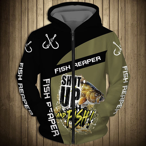 OFFICIAL-FISH-REAPER-ZIPPERED-HOODIES/CUSTOM-3D-GRAPHIC-PRINTED-SHUT-UP-AND-FISH