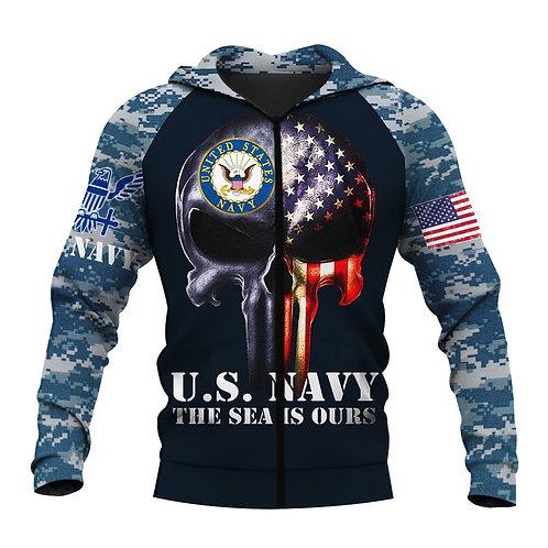 *OFFICIAL-U.S.NAVY-VETERAN-ZIPPERED-HOODIE/CUSTOM-PATROITIC-FLAG-PUNISHER-SKULL*