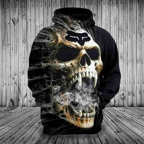 *CREEPY-SMOKIN-FOX-SKULL/3D-CUSTOM-GRAPHIC-PRINTED-DOUBLE-SIDED-PREMIUM-HOODIES*