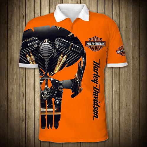 OFFICIAL-HARLEY-DAVIDSON-MOTORCYCLE-POLO-SHIRTS/CUSTOM-3D-PUNISHER-MOTOR-SKULL!!