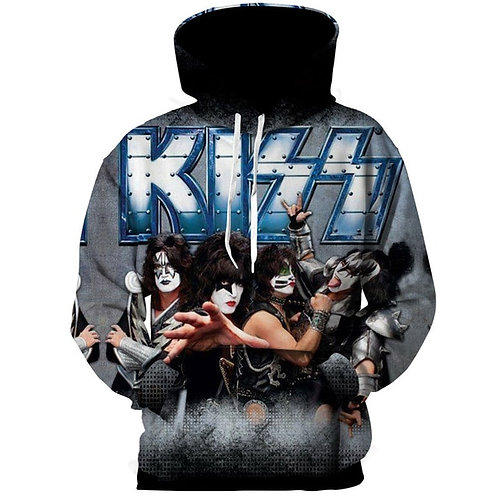 *NEW-OFFICIAL-KISS-ROCK-BAND-MEMBERS/3D-CUSTOM-GRAPHIC-PRINTED-PULLOVER-HOODIES*