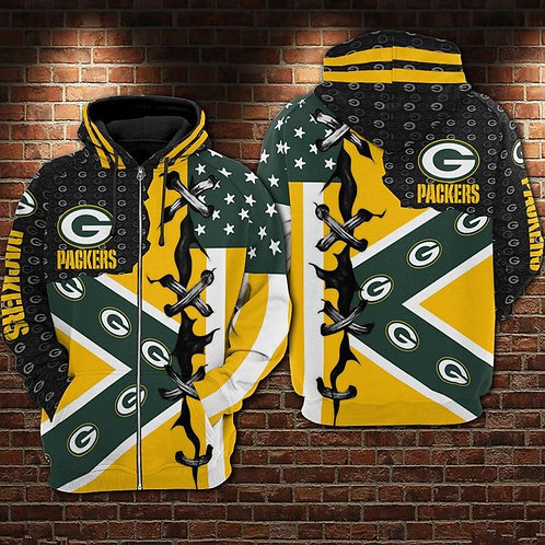 OFFICIAL-N.F.L.GREEN-BAY-PACKERS-ZIPPERED-HOODIES/CUSTOM-3D-CROSS-STITCH-DESIGN!