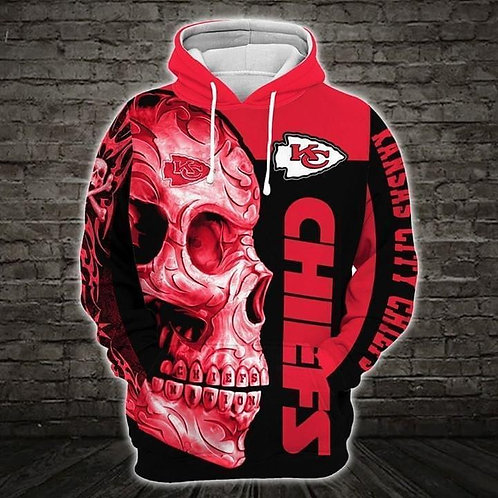 OFFICIAL-N.F.L.KANSAS-CITY-CHIEFS-PULLOVER-HOODIE/CUSTOM-3D-GRAPHIC-TRIBAL-SKULL