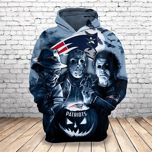 OFFICIAL-LICENSED-N.F.L.NEW-ENGLAND-PATRIOTS/NEW-CLASSIC-HORROR-MOVIE-3D-HOODIES