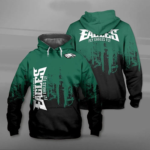 OFFICIAL-N.F.L.PHILADELPHIA-EAGLES-TEAM-PULLOVER-HOODIE/CUSTOM-3D-FLY-EAGLES-FLY