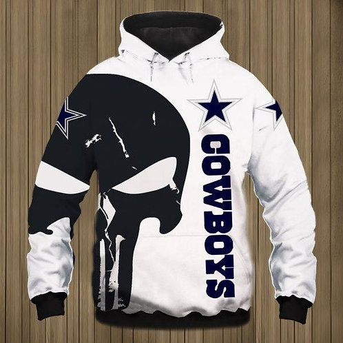 OFFICIAL-N.F.L.DALLAS-COWBOYS-PULLOVER-HOODIES/CUSTOM-3D-GRAPHIC-PUNISHER-SKULL!