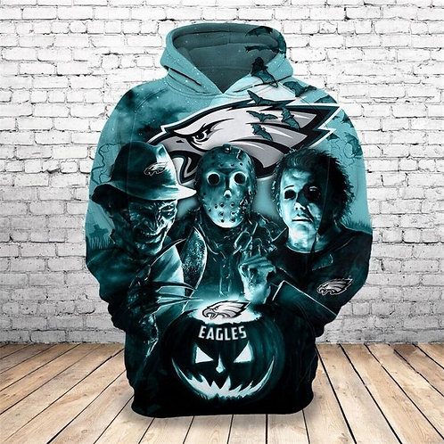 *N.F.L.PHILADELPHIA-EAGLES/CLASSIC-HALLOWEEN-HORROR-MOVIE-CHARACTERS-3D-HOODIES*