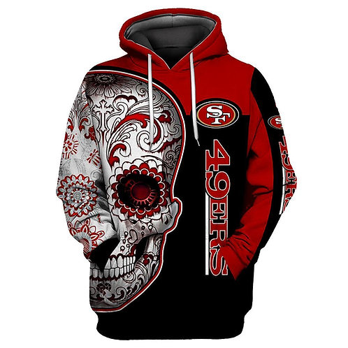 OFFICIAL-N.F.L.SAN-FRANCISCO-49ERS-PULLOVER-HOODIES/CUSTOM-3D-NEON-TRIBAL-SKULL!
