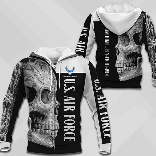 OFFICIAL-U.S.AIR-FORCE-ZIPPERED-HOODIES/NEW-CUSTOM-3D-PRINTED-AZTEC-TRIBAL-SKULL