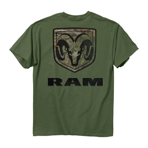 OFFICIALLY-LICENSED-DODGE-RAM-TEES/CLASSIC-DODGE-RAM-LOGO/ON-REALTREE-CAMO.BACK!