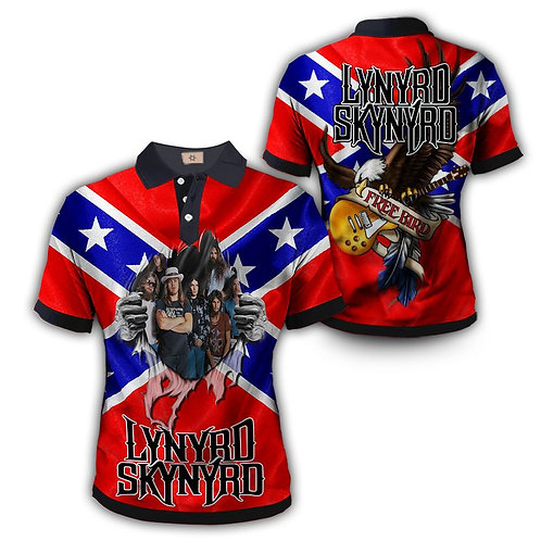 OFFICIAL-LYNYRD-SKYNYRD-FREE-BIRD-POLO-SHIRTS/NEW-CUSTOM-3D-GRAPHIC-PRINT-DESIGN