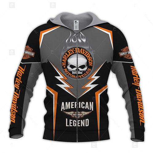 HARLEY-DAVIDSON-MOTORCYCLE-BIKER-ZIPPERED-HOODIE/CUSTOM-HARLEY-AMERICAN-LEGEND!!