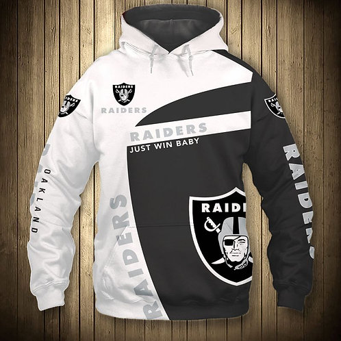 OFFICIAL-N.F.L.OAKLAND-RAIDERS-TEAM-PULLOVER-HOODIE/CUSTOM-JUST-WIN-BABY-SLOGAN!