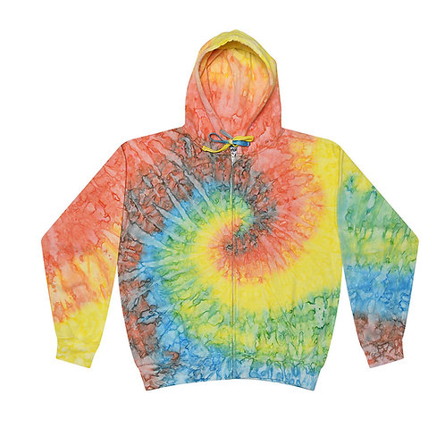 MINT-RAINBOW-SPIRAL-PATTERN-ZIPPERED-TYE-DYED-HOODIES/WARM-PREMIUM-FLEECE-HOODIE