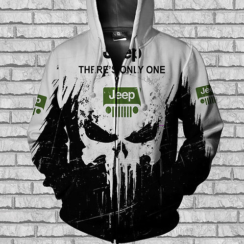 OFFICIAL-JEEP-ZIPPERED-HOODIE & THERE'S-ONLY-ONE/CUSTOM-PRINTED-PUNISHER-SKULL!!