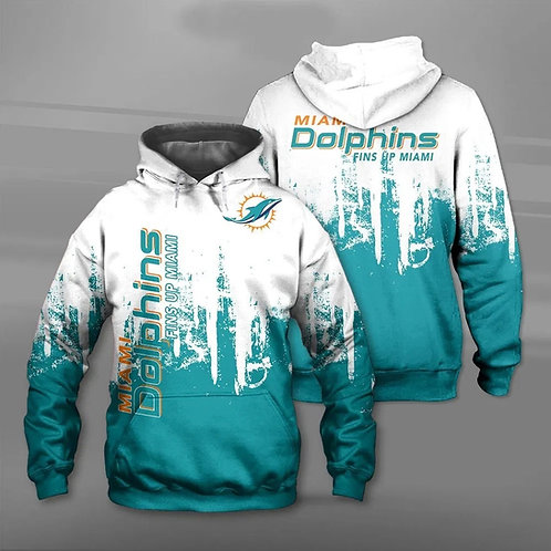 OFFICIAL-N.F.L.MIAMI-DOLPHINS-TEAM-PULLOVER-HOODIE/CUSTOM-FINS-UP-MIAMI-SLOGAN!!