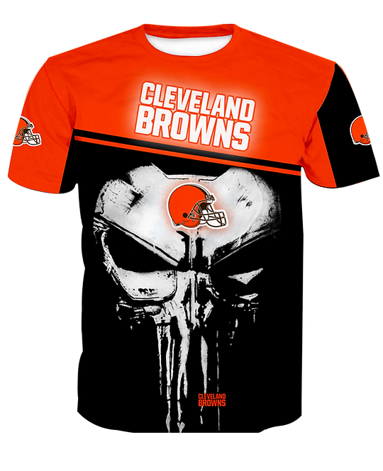 OFFICIAL-N.F.L.CLEVELAND-BROWNS-TEAM-SPORT-TEE-SHIRTS/CUSTOM-3D-PUNISHER-SKULL!!