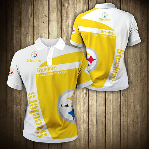 OFFICIAL-N.F.L.PITTSBURGH-STEELERS-PREMIUM-POLO-SHIRTS/3D-CUSTOM-GRAPHIC-PRINTED