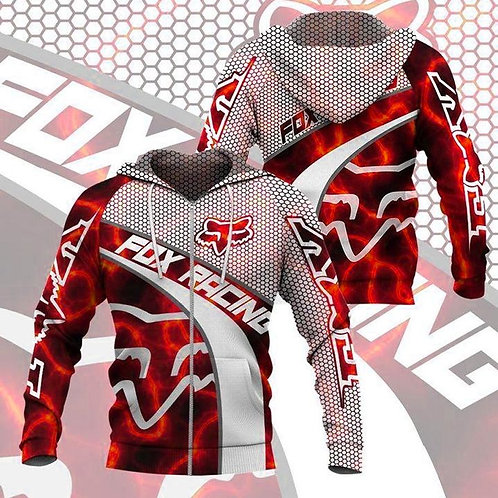 OFFICIAL-FOX-RACING-NEON-RED-ZIPPERED-HOODIES/CUSTOM-3D-GRAPHIC-PRINTED-DESIGN!