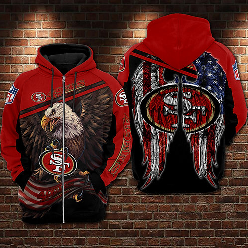 OFFICIAL-N.F.L.SAN-FRANCISCO-49ERS-TEAM-ZIPPERED-HOODIES/PATRIOTIC-FLAGGED-EAGLE