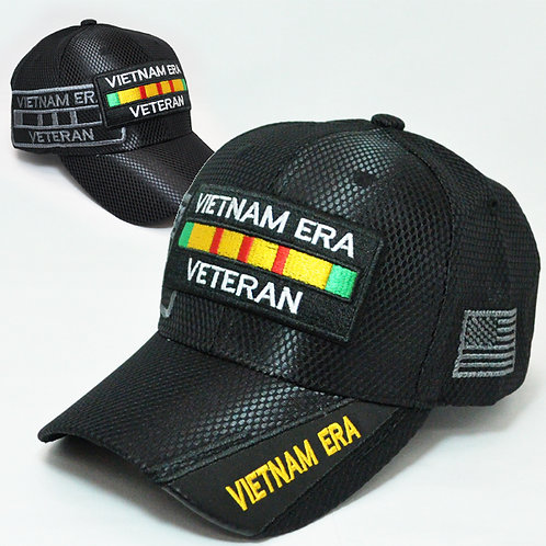 OFFICIAL-VIETNAM-ERA-VETERAN & VIETNAM-ERA-RIBBON/NEW-CUSTOM-3D-BLACK-MESH-HAT!!