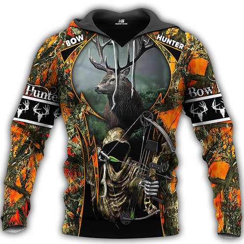 BOW-HUNTERS-ORANGE-CAMO.PULLOVER-HOODIE/NEW-CUSTOM-3D-PRINTED-GRIM-REAPER-DESIGN