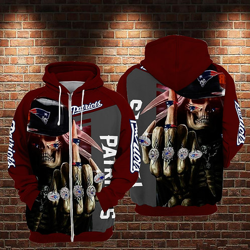 OFFICIAL-N.F.L.NEW-ENGLAND-PATRIOTS-ZIPPERED-HOODIES/NEW-CUSTOM-3D-GRIM-REAPER!